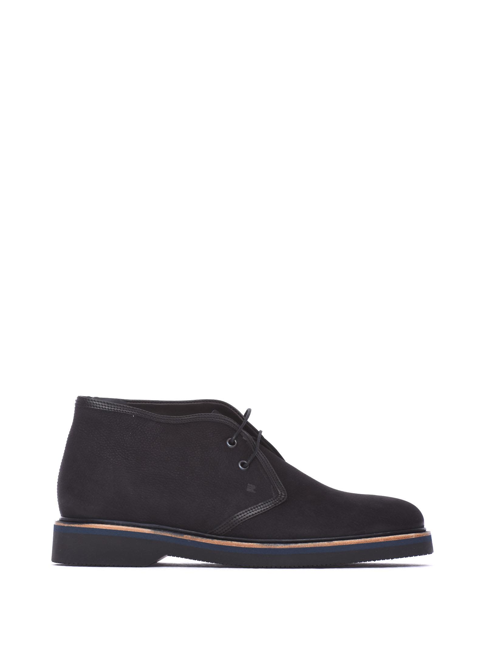 FRATELLI ROSSETTI ONE Desert Boots In Black Nabuk Leather in Nero