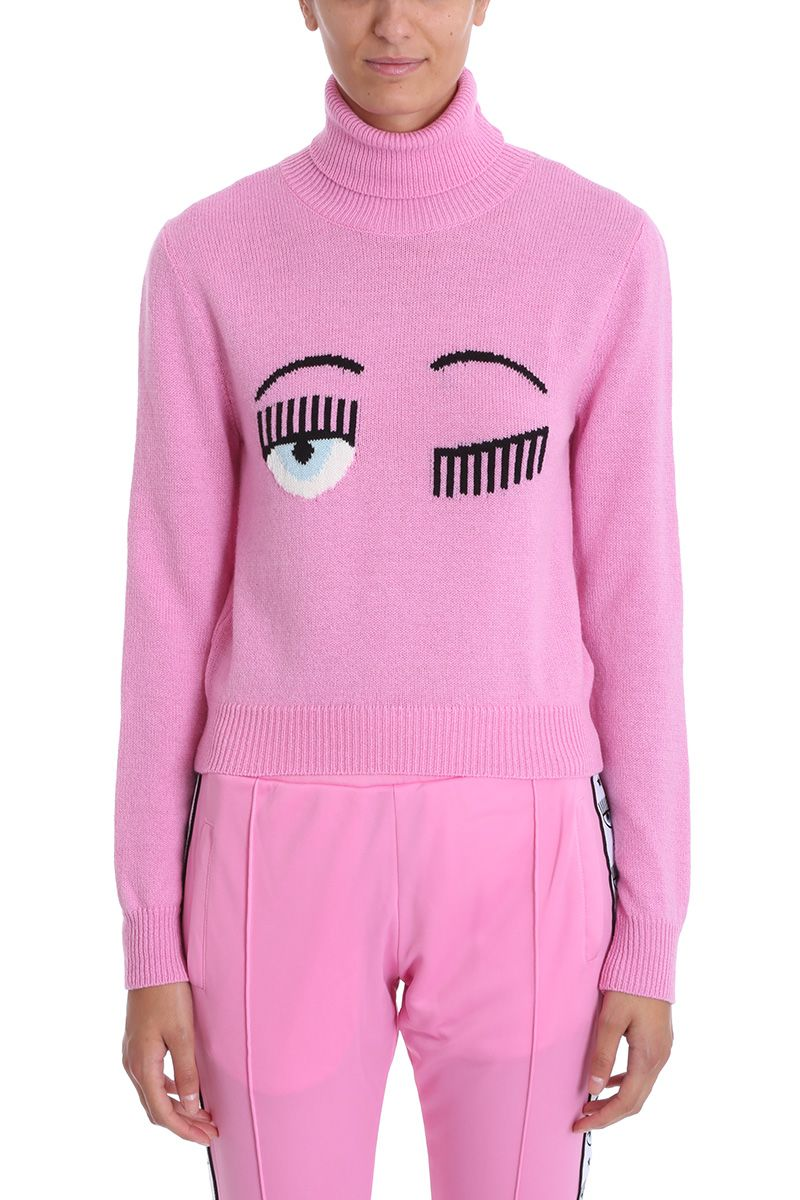 chiara ferragni -  Flirting Eye Pink Wool Sweater