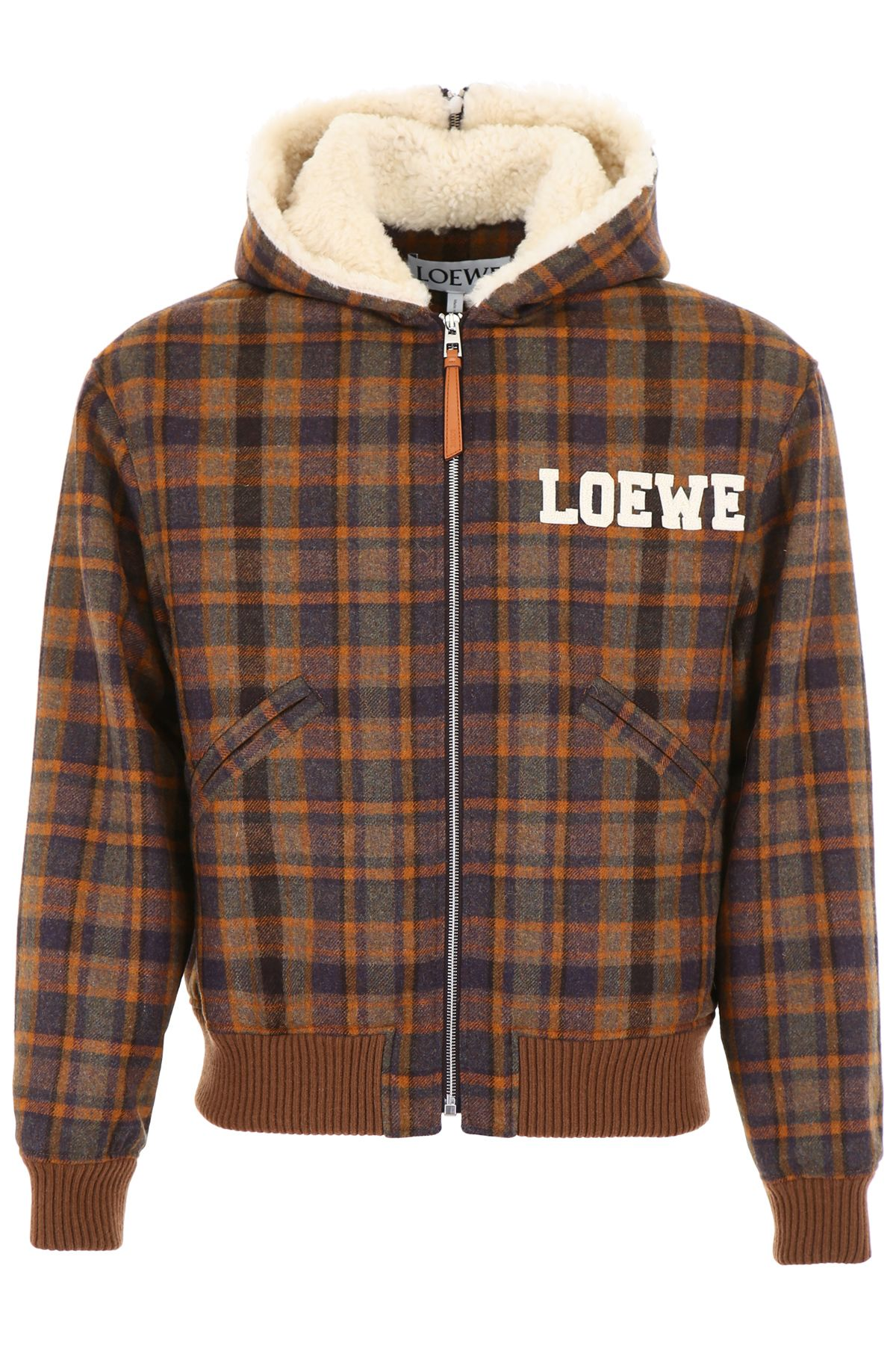 LOEWE CHECK JACKET WITH SHEARLING