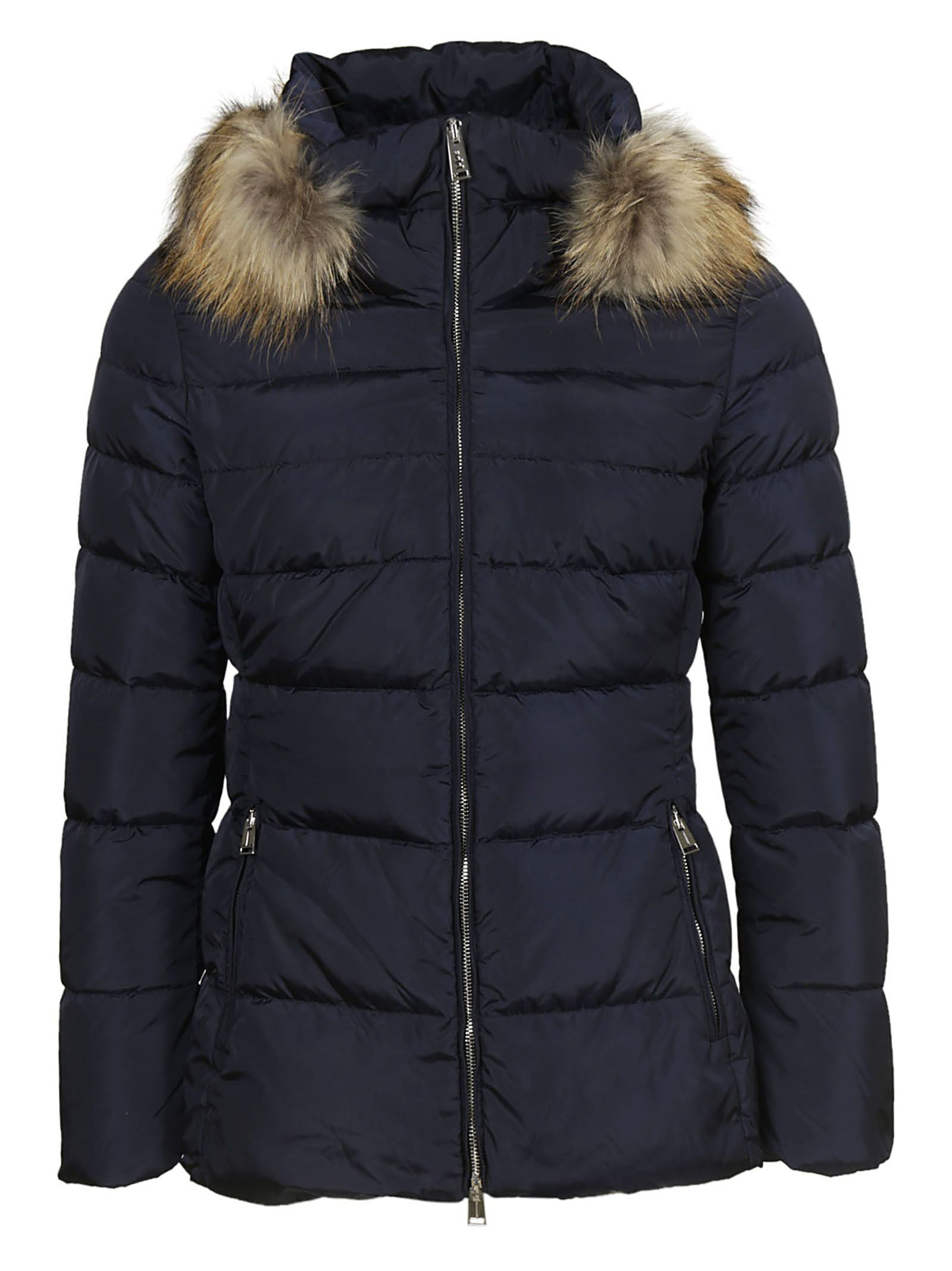 ADD Fur Trimmed Padded Jacket in Blu Navy