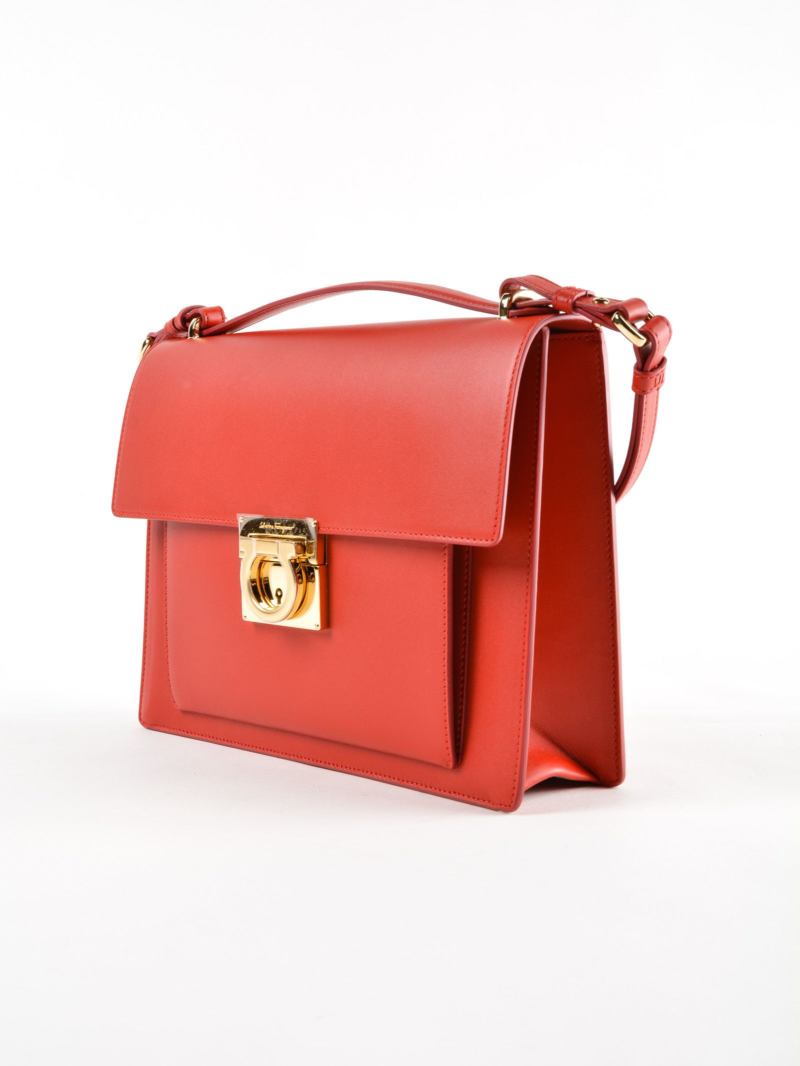 Shoulder Bag for Women, Carrie, Lipstick Red, Leather, 2017, one size Salvatore Ferragamo