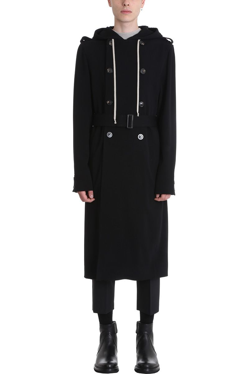 RICK OWENS WOOL BLACK DIRT TRENCH