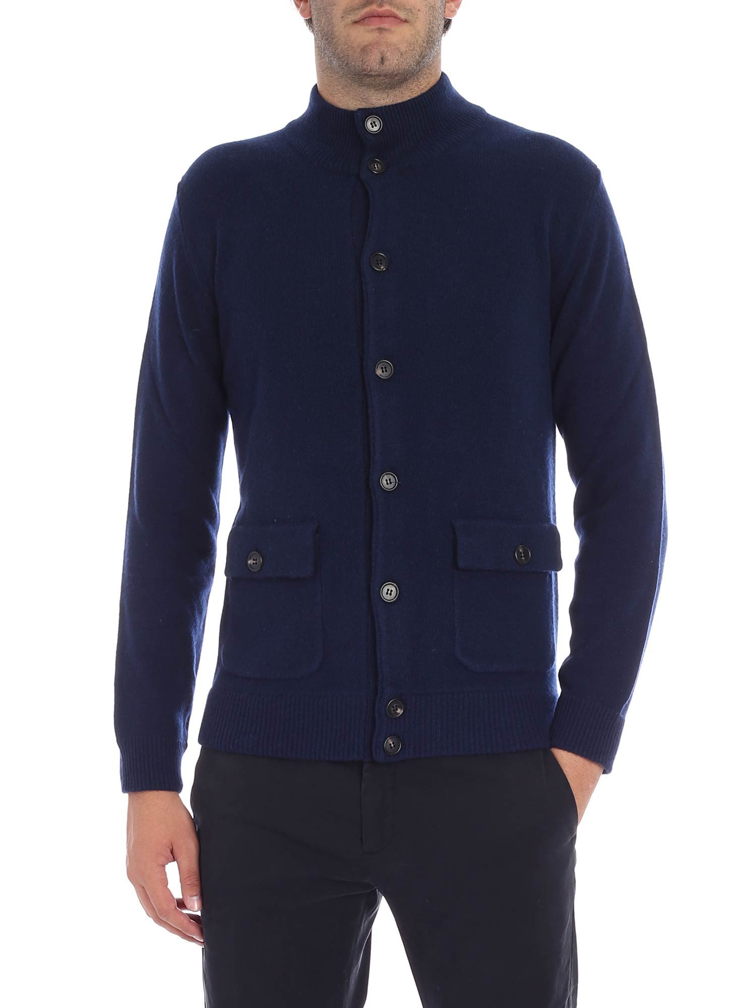 LUIGI BORRELLI Front Pocket Detail Cardigan in Blue