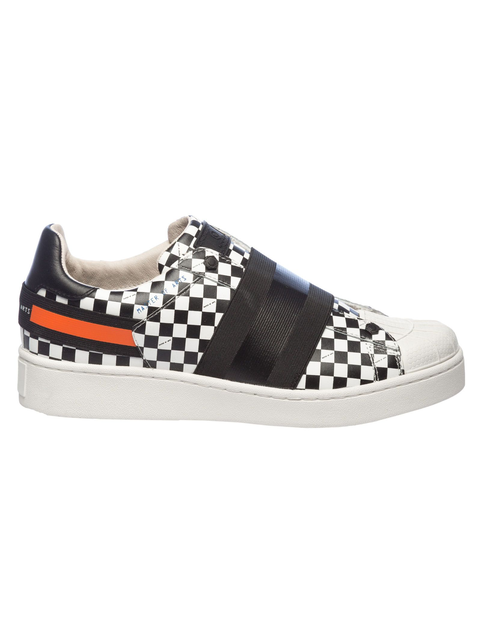 MOA COLLECTION Moa Usa Checked Print Sneakers in White/Black