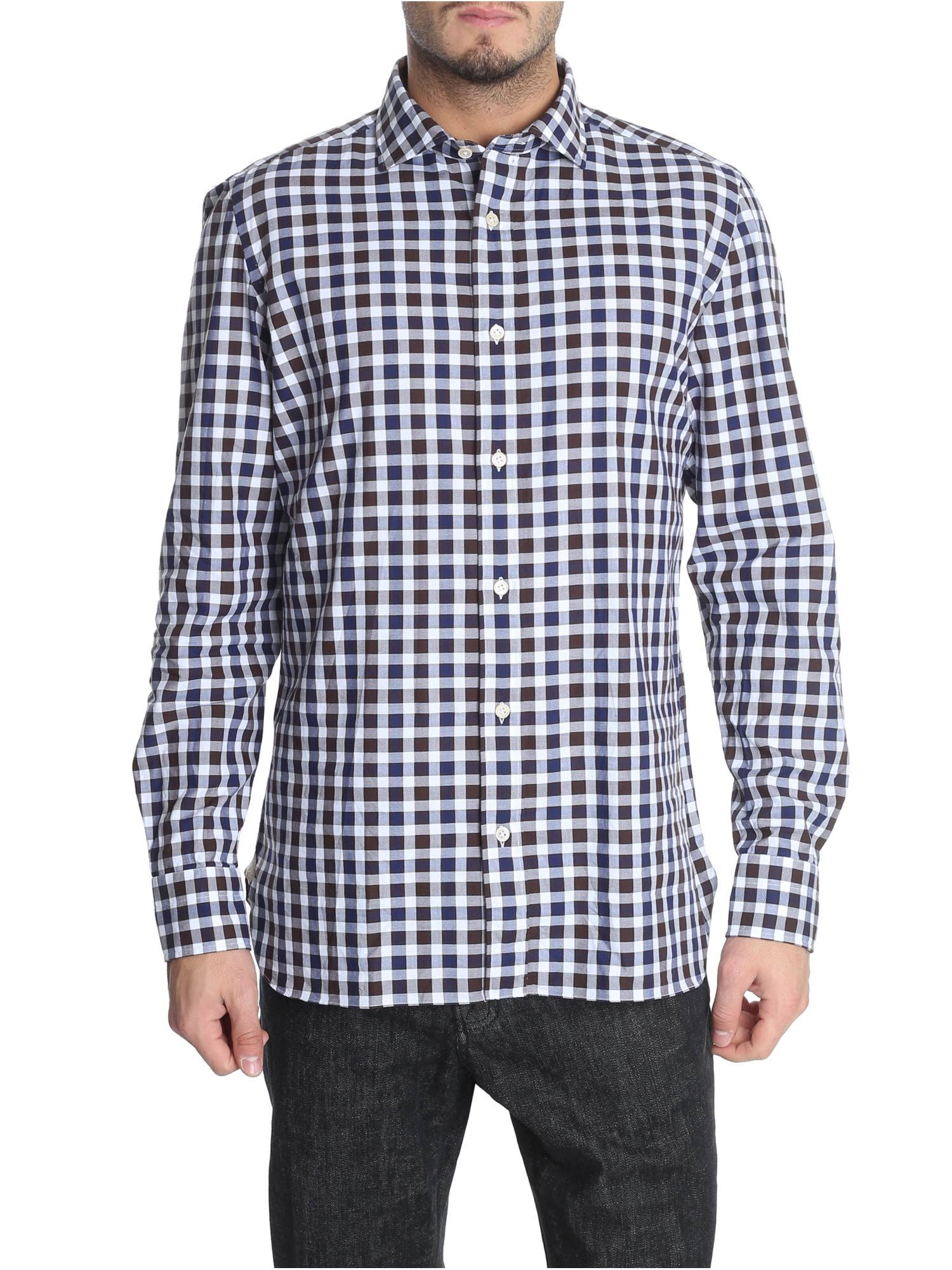 LUIGI BORRELLI Check Print Shirt in White/Blue/Brown
