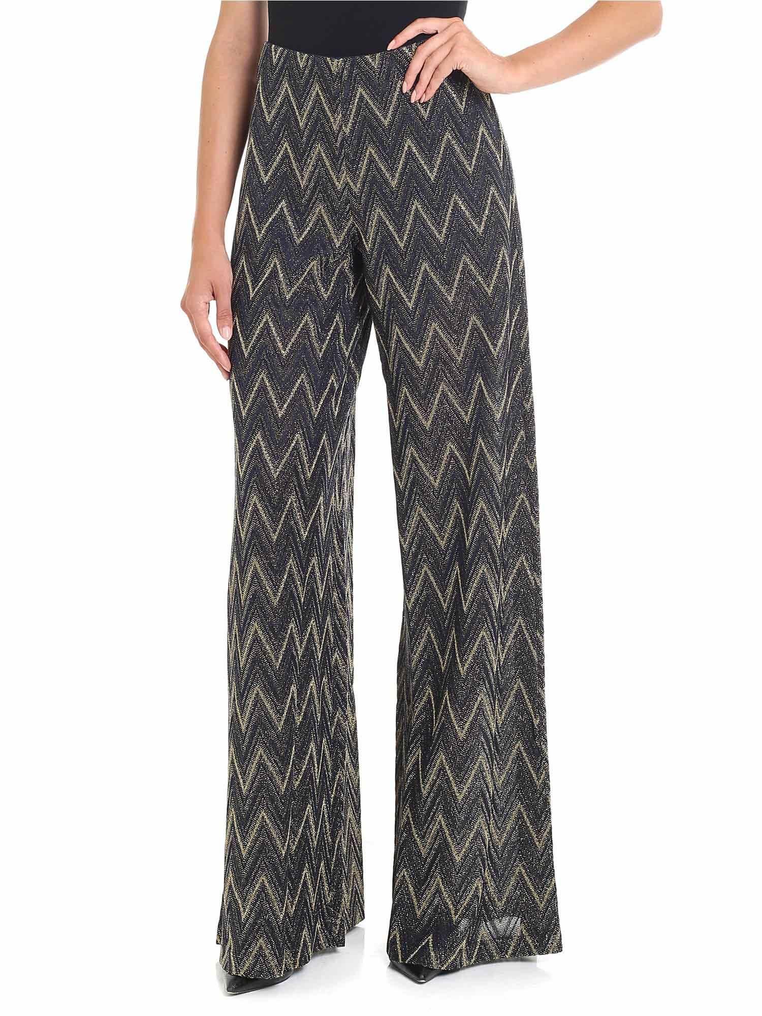 Lurex Trousers, Blu/Oro