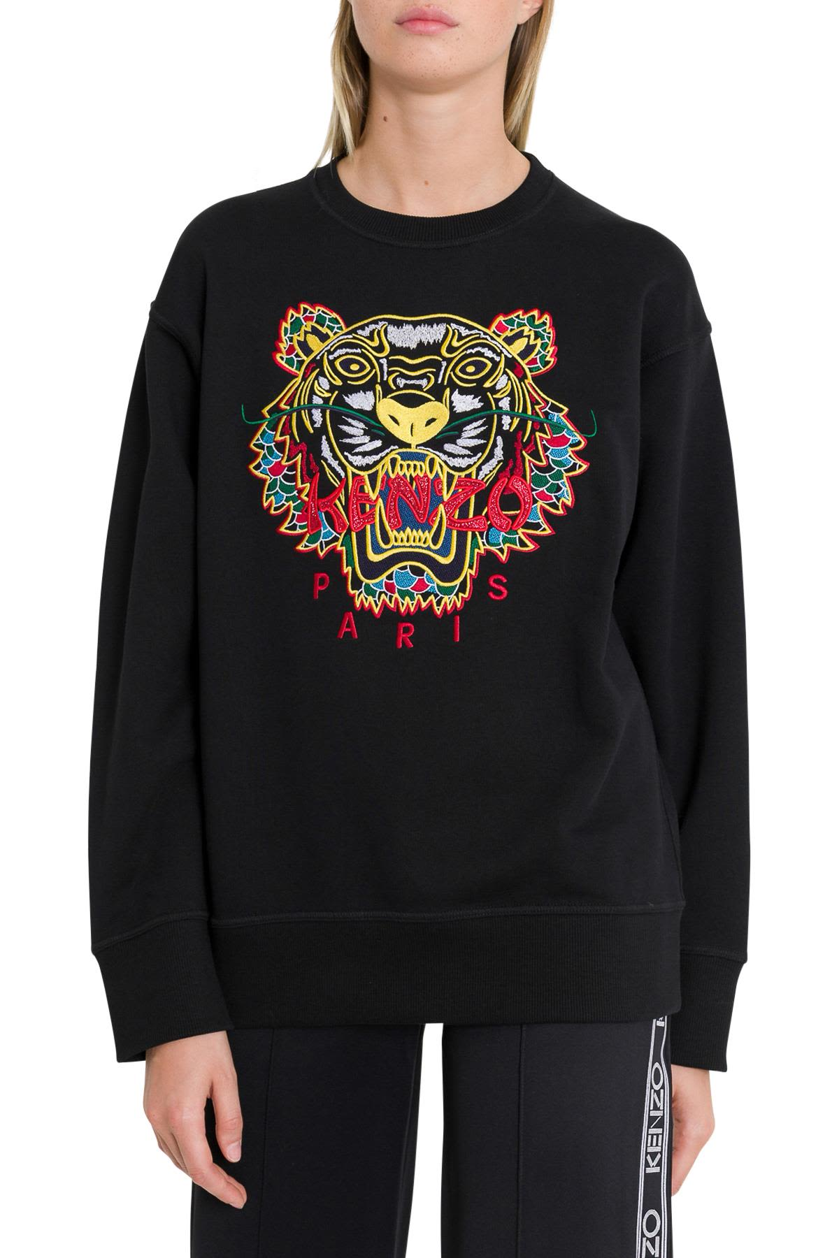 KENZO JERSEY SWEATSHIRT WITH TIGER CLASSIC EMBROIDERY