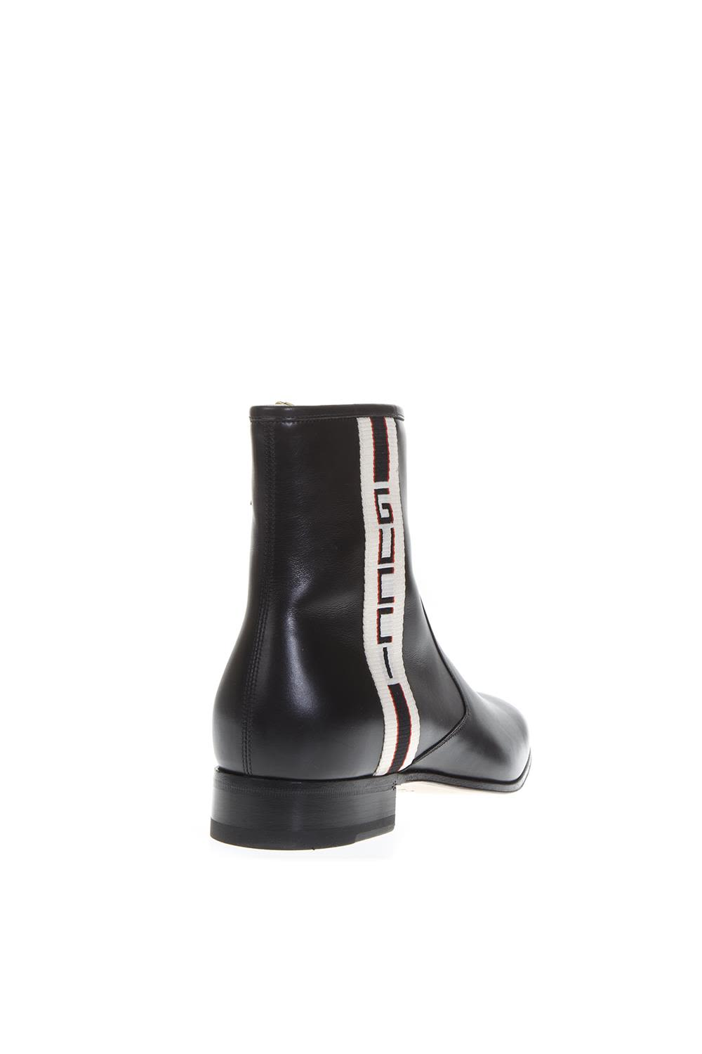 e454616cc520 ... Gucci Gucci Logo Stripe Black Leather Boots - Black ...