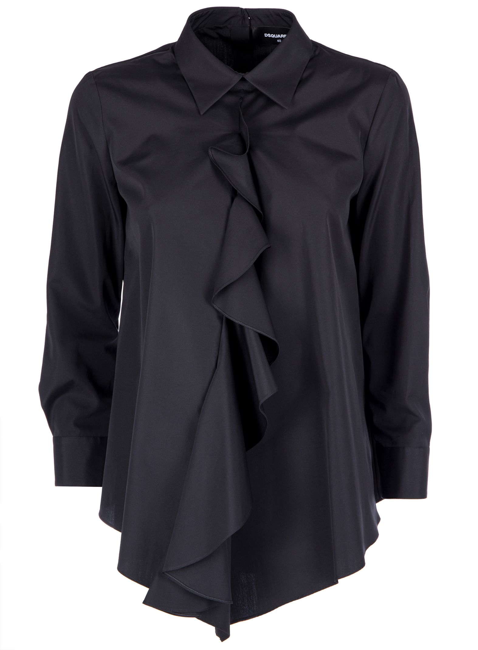 5602bba0ba85e Dsquared2 Classic Ruffle Shirt In Black - Black ...