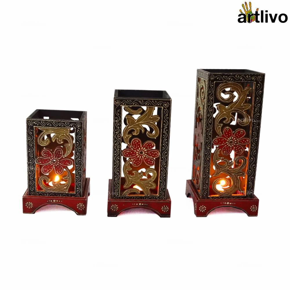 BOLD RED Set of Three Carved Lamps