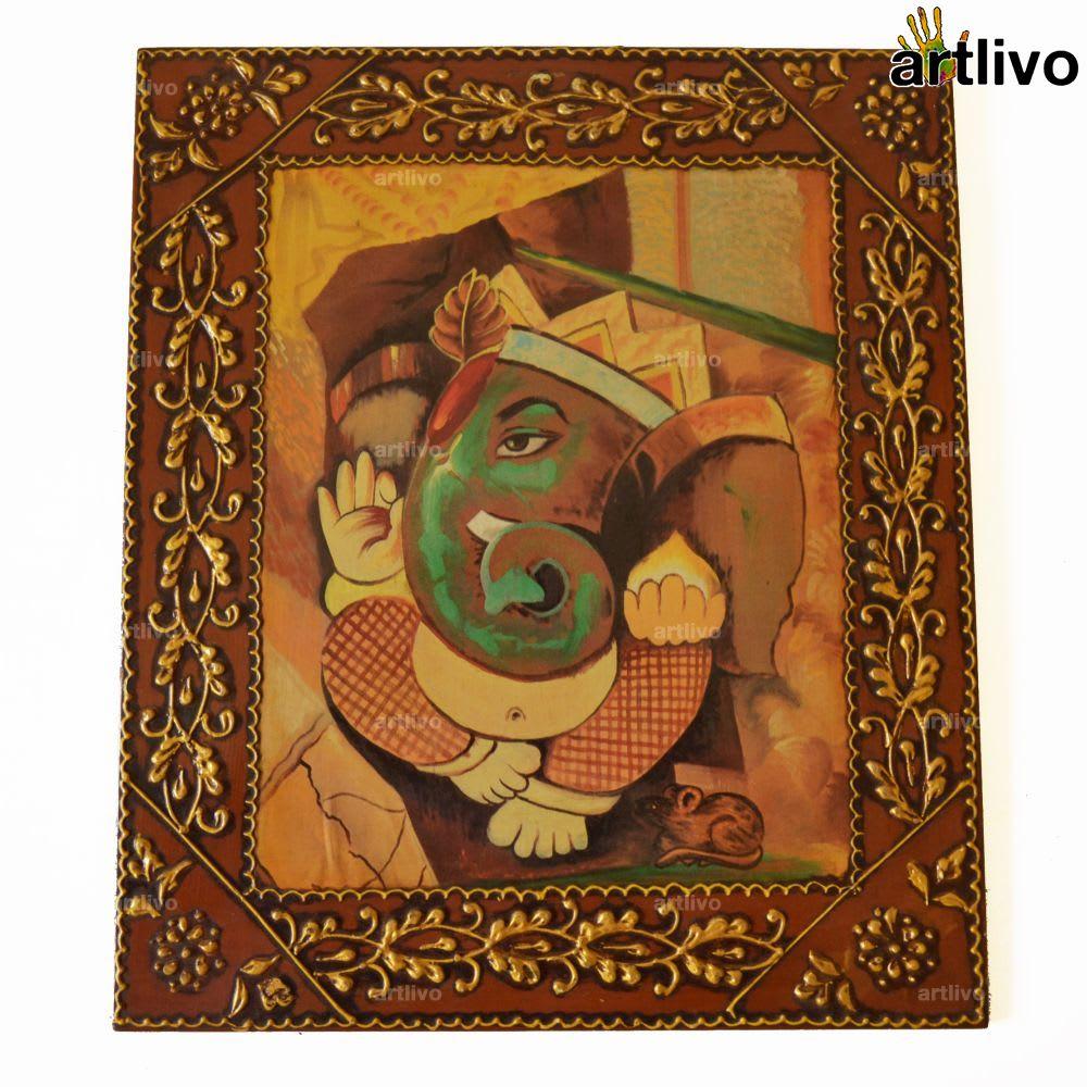 EMBOSSED Ganesha Painting on Canvas