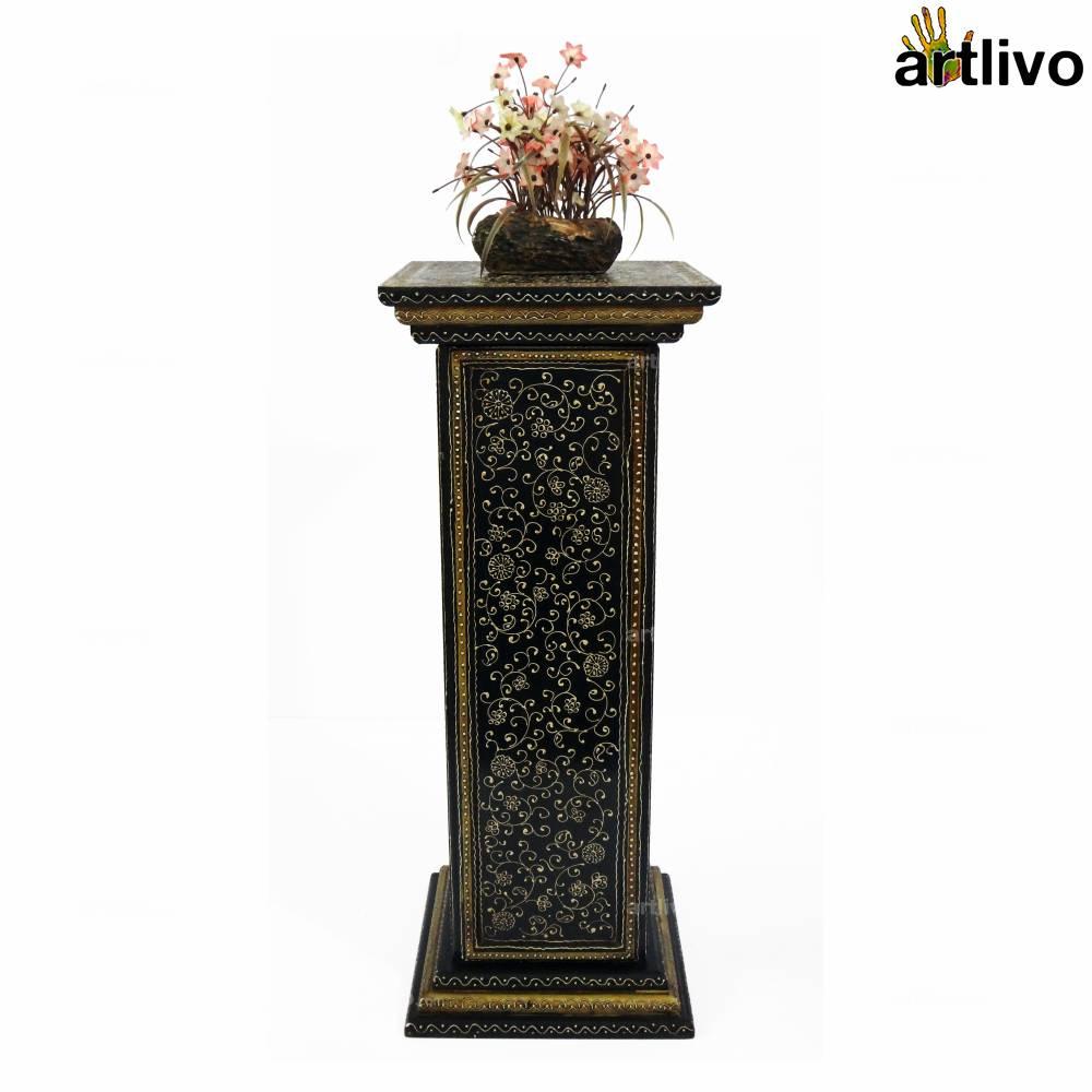 5 Drawer Pillar Table - Black