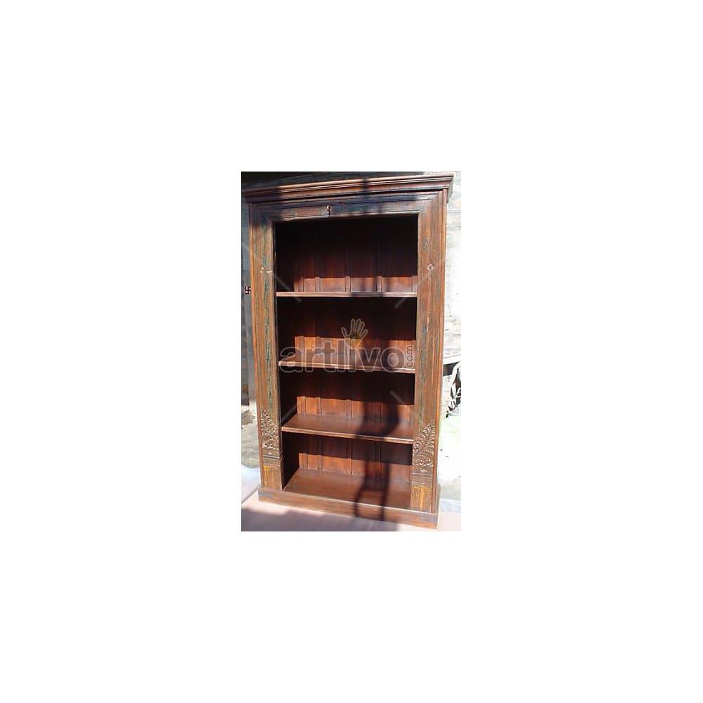 Vintage Indian Carved Unique Solid Wooden Teak Bookshelf