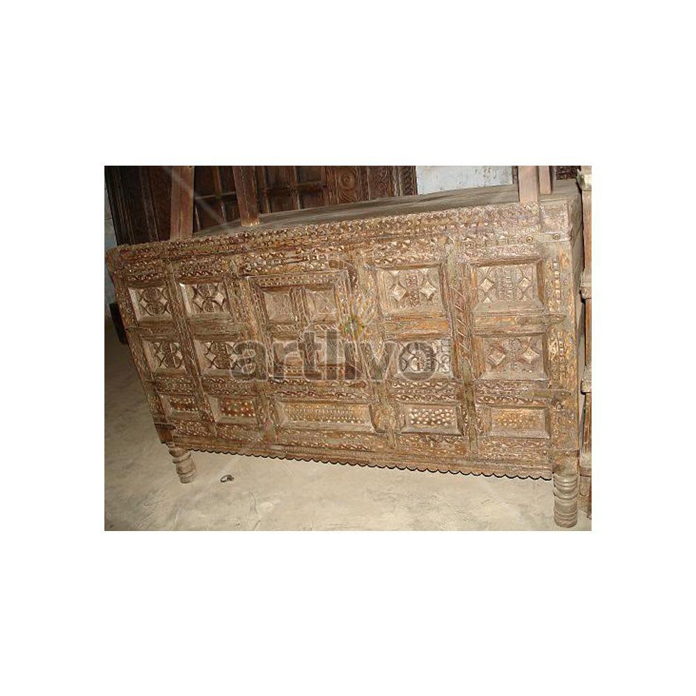 Old Indian Carved illustrious Solid Wood chiseled design Trunk