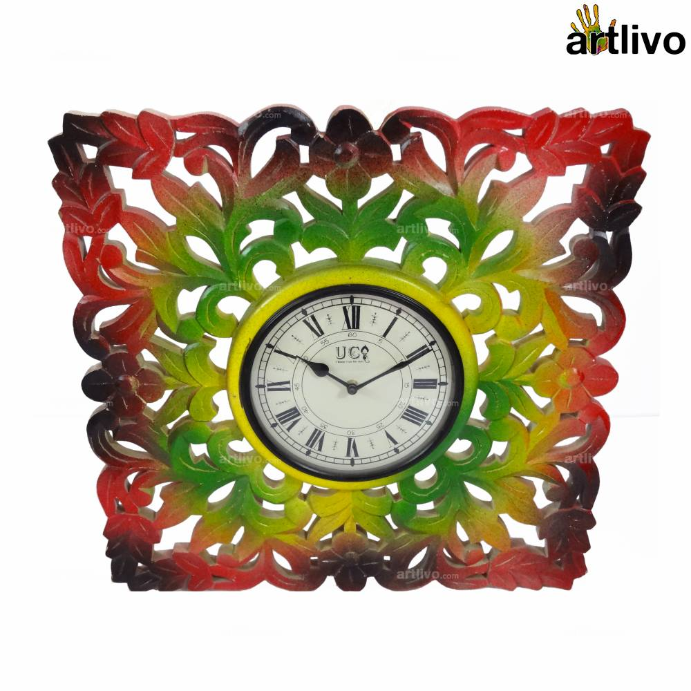 """POPART Carved Square Wall Clock 20"""""""