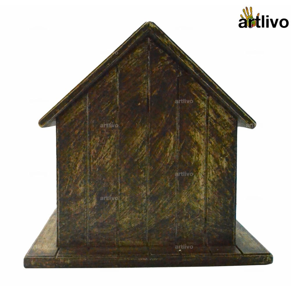 Decorative Hanging Bird House - Mustard with antique look