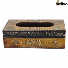 EMBOSSED Honey Painted Tissue Box