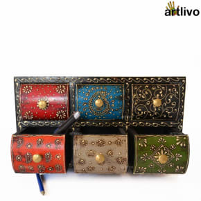 EMBOSSED 6 drawers Multicolored Utility Box - Black