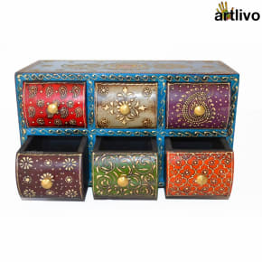 EMBOSSED 6 drawers Multicolored Utility Box - Blue