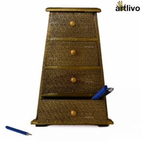 BLING 4 Drawers Tapered Utility Box - Golden