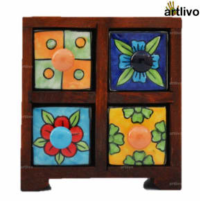 POPART Ceramic 4 Drawer Square Box - BO089