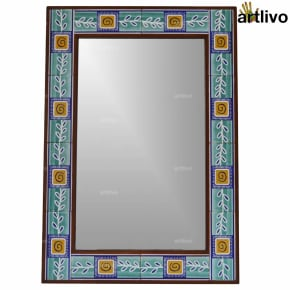 32 Inches Handrcrafted Blue Leaves Decorative Wall Hanging Tile Mirror Frame
