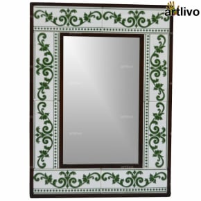 "22"" Decorative Bathroom Wall Hanging Tile Mirror Frame - MR070"