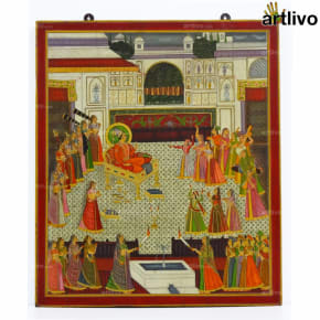 Mughal Court Painting on Wood