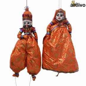 POPART Orange Brocade Kathputli Puppet Set 20""