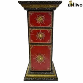 EMBOSSED 3 Drawer Pillar Table