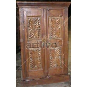 Vintage Indian Sculptured Deluxe Solid Wooden Teak Almirah