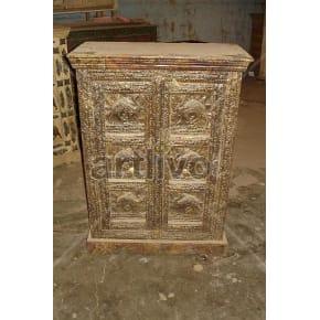 Restored Sculpted Opulent Solid Wooden Teak Almirah with brass work