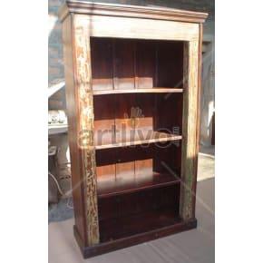 Vintage Indian Carved Opulent Solid Wooden Teak Bookshelf