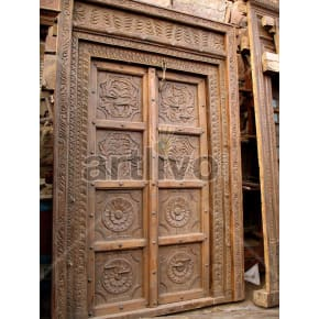 Vintage Indian Carved Aristocratic Solid Wooden Teak Door