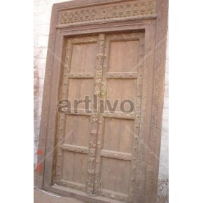 Vintage Indian Carved Stately Solid Wooden Teak Door