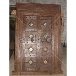 Vintage Indian Brown Aristocratic Solid Wooden Teak Door