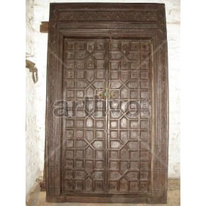 Vintage Indian Brown Marvellous Solid Wooden Teak Door