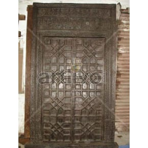 Vintage Indian Chiselled Unique Solid Wooden Teak Door