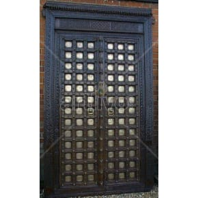 Vintage Indian Chiselled Opulent Solid Wooden Teak Door with metal work