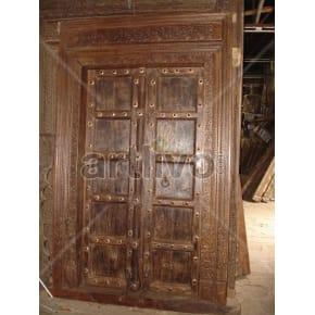 Vintage Indian Engraved Extravagant Solid Wooden Teak Door