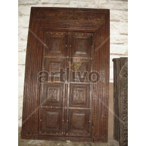 Vintage Indian Engraved Palatial Solid Wooden Teak Door