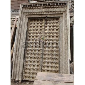 Vintage Indian Engraved Imperial Solid Wooden Teak Door with metal work