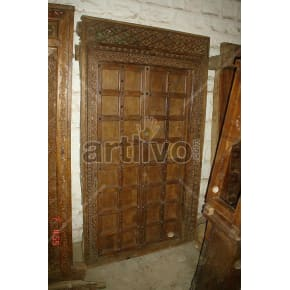 Vintage Indian Engraved Marvellous Solid Wooden Teak Door