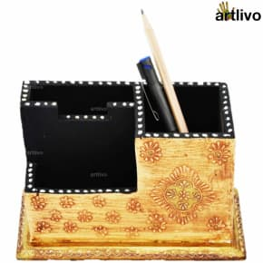 EMBOSSED Ivory Golden Compact Table Organiser