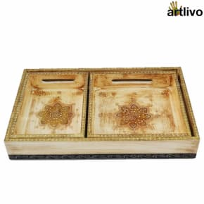 EMBOSSED Ivory Golden 3pc Tray Set