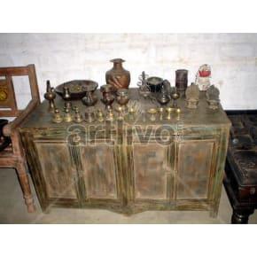 Antique Indian Brown Royal Solid Wooden Teak Sideboard