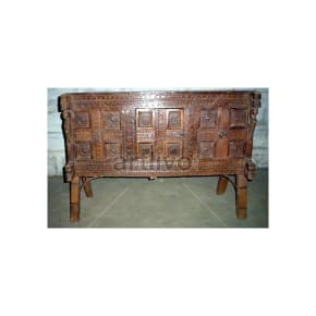 Antique Indian Beautiful Extravagant Solid Wood chiseled design Trunk