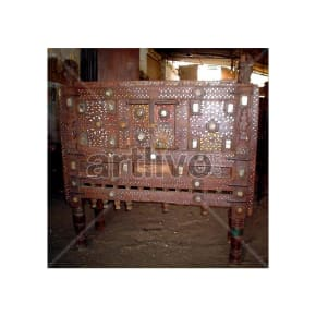 Old Indian Carved Deluxe Solid Wood small mirror glass fitted Trunk