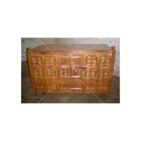 Old Indian Carved Extravagant Solid Wood brown color Trunk
