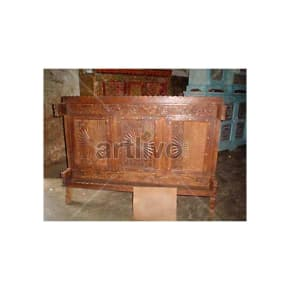 Old Indian Carved Ostentatious Solid Wood brown color Trunk